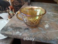Golden Carnival Glass Punch bowl set