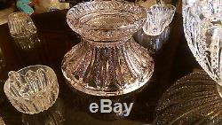 Gorgeous Antique Huge Glass Punch Bowl on Glass Pedestal