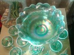 Gorgeous Fenton Opalescent Aqua Punch Bowl & 10 Cups