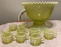 Gorgeous Fenton Topaz Opalescent Hobnail Punch Bowl & 8 Cups