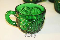 Gorgeous Green Cut Glass Punch Bowl with Stand and 12 cups
