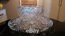 Gorgeous Huge Antique 24 Cup Punch Bowl on Matching Platter