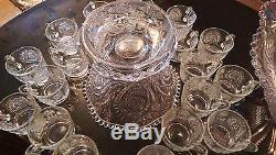 Gorgeous Huge Antique 24 Cup Punch Bowl on Matching Rasied Base Set