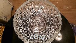 Gorgeous Huge Antique Punch Bowl on Matching High Rise Base & Platter