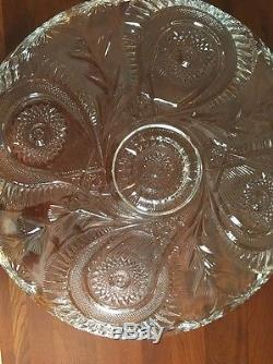 Gorgeous Huge Vintage L. E. Smith Glass Punch Bowl with Underplate. Marvelous