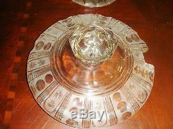 Gorgeous Mid Ccentury Punch Bowl with serving spoon, frosted and clear glass