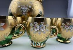 Gorgeous Rare Venetian Murano Glass & 24K Gold Leaf Punch Bowl & 12 Cups