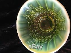 Gorgeous Vaseline Glass Mosser Punch Bowl Set Grapes Opalescent Discontinued