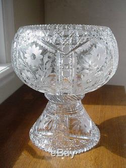 Gorgeous Vintage American Brilliant Cut Glass Punch Bowl and Pedestal ABP