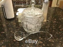 Gorgeous Vintage Crystal Star of David Punch Bowl withLid and Ladle and 8 Cups