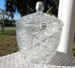 Gorgeous Vintage Cut Glass Crystal Punch Bowl with Lid Not Signed ABP