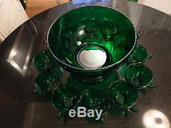 Gorgeous Vintage Hunter Green Punch Bowl On Base With 12 Cups