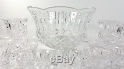 Gorham Crystal King Edward Punch Bowl Cups Set
