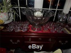 HEISEY EX. LG. PUNCH BOWL SET PEDESTAL With CUPS SILVER PLATED LADLE BRIDAL