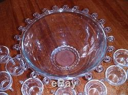 HEISEY Lariat 15 Diameter Punch Bowl & 32 Cups