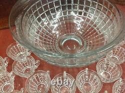 HEISEY VICTORIAN 14 1/2 PUNCH BOWL with 23 CUPS #1425