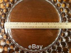 HUGE 18 Bubble Glass Punch Bowl Underplate Anchor Hocking Base Plate RARE