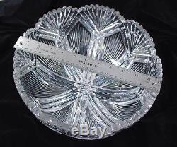 Huge American Brilliant Period Abp Classically Cut Glass Punch Bowl