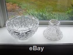 HUGE ANTIQUE CUT CRYSTAL PUNCH BOWL Etched Compliments of Openero Club 1910