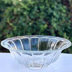 HUGE EAPG Punch Bowl Paneled Design 100 Years Old Sawtooth Rim 24-30 Cup 15 3/4