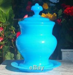 HUGE! OPALINE antique french light blue plate vtg art glass party punch bowl