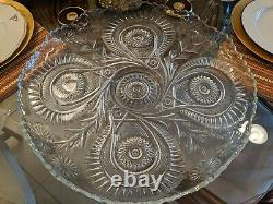 HUGE Vintage Cut Crystal Pressed Glass Punch Bowl withCups +Plate Flower Pinwheel