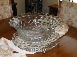 Hand Blown Fosteria Punch Bowl And Cups