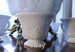 Handmade Original Colony Harvest Milk Glass Punch Bowl Set with Base, cups, vase