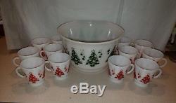 Hazel Atlas Christmas Tree Punch Egg Nog Bowl Cups Mugs Red Green Holiday Set
