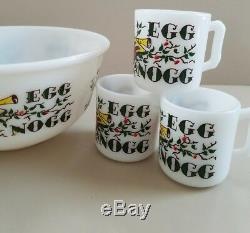 Hazel Atlas Egg Nog Punch Bowl Set With 6 Mugs Christmas (Extremely Rare Pattern)