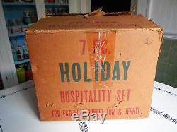 Hazel Atlas Holiday Christmas Red & Green Polka Dot Punch Bowl Set MINT BOXED