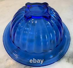 Hazel Atlas Moderntone Cobalt Blue 11 Piece Punch Bowl Set Complete