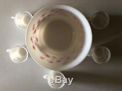 Hazel Atlas Punch Bowl Egg Nog Red Green Dots Christmas Set Mugs
