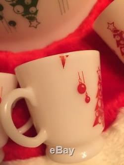 Hazel Atlas Red & Green Milk Glass Christmas Trees Punch/Egg Nog Set Bowl 6 Cups