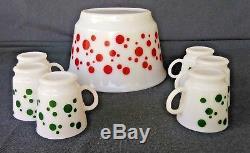 Hazel Atlas Red Polka Dot Punch Bowl Set With 6 Green Polka Dot Mugs