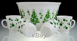 Hazel Atlas Vintage Christmas Tree Punch Bowl & 4-Green Polka Dot Mugs
