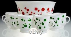 Hazel Atlas Vintage Red Polka Dot Punch Bowl-Including 6 Green Polka Dot Mugs