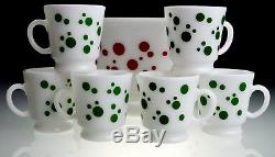 Hazel Atlas Vintage Red Polka Dot Punch Bowl-Including 6 Green Polka Dot Mugs