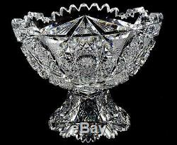Hc Fry Empire Co Abp Brilliant Cut Glass Argo Pattern 12 Punch Bowl & Base 1900