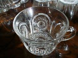 Heisey BEADED PANEL SUNBURST Punch Bowl + Pedestal +14 punch cups MINT 1897-1912
