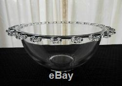 Heisey Glass Clear Lariat Blown Punch Bowl, 11 Cups, 11 Hooks, Ladle, 24 pc. Set