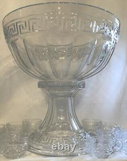 Heisey Glass Greek Key Crystal Punch Bowl & Stand & 13 Punch Cups Marked Heisey