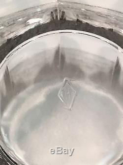 Heisey Glass Greek Key Crystal Punch Bowl With Stand & 24 Punch Cups Signed