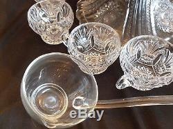 Heisey Glass Prince of Wales Punch Bowl 8 Matching Cups, + Stand, Ladle