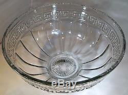 Heisey Greek Key Crystal 14-3/4 Diameter Punch Bowl & Footed Stand Base-signed