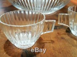 Heisey Ridgeleigh Heavy Pressed Pattern punch bowl & 2 cups, plus glass ladle