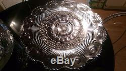 Huge Antique Manhattan Punch Bowl 23 Cups on Platter