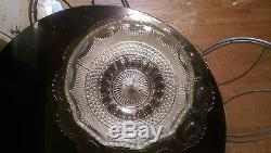 Huge Antique Manhatten Punch Bowl 24 Cups on Platter with Glass Ladle
