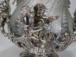 Huge Baccarat style silverplated bronze & glass punch bowl # 30024