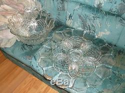 Huge EAPG 22.5 inch punch bowl set Rare pattern